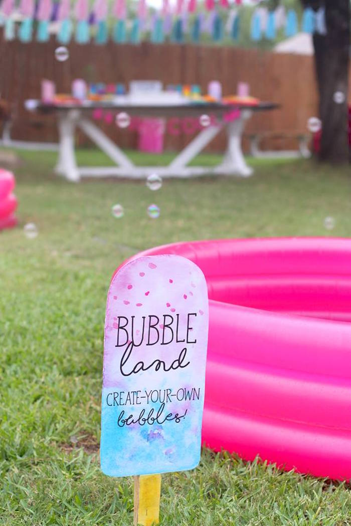 "Bubble pool from a ""Two Cool"" Popsicle Themed Birthday Party on Kara's Party Ideas 