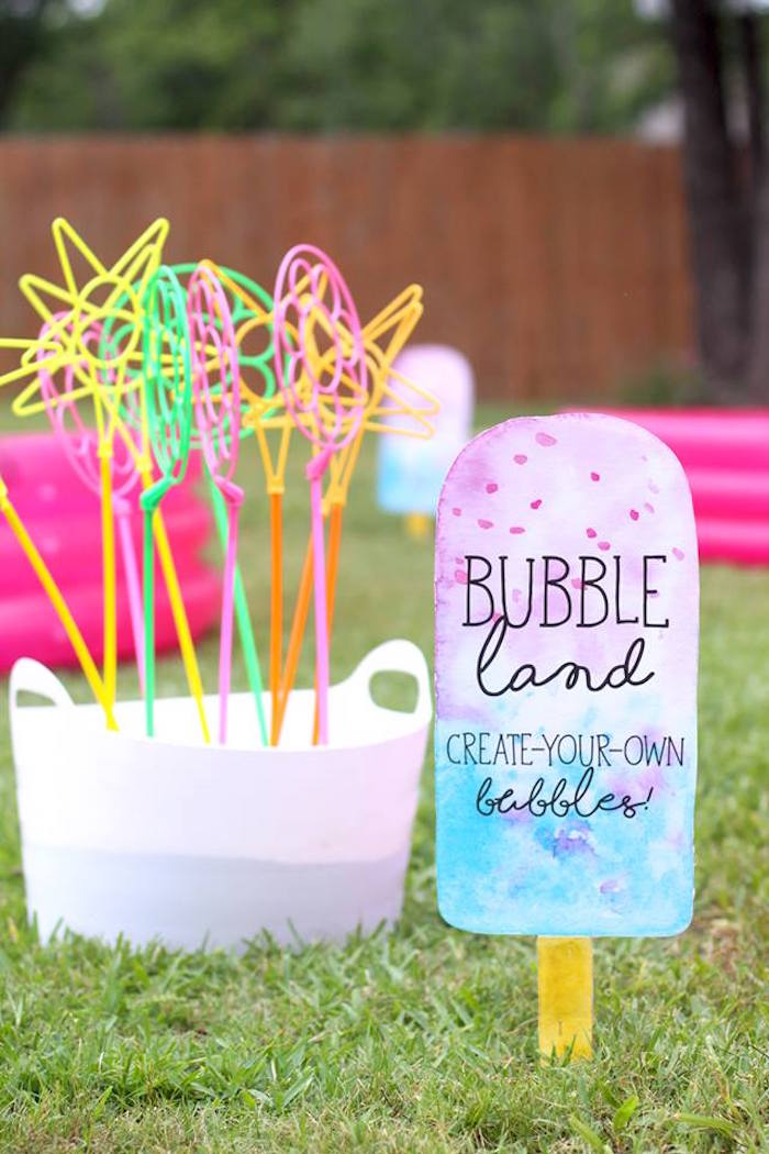 "Bubble land from a ""Two Cool"" Popsicle Themed Birthday Party on Kara's Party Ideas 
