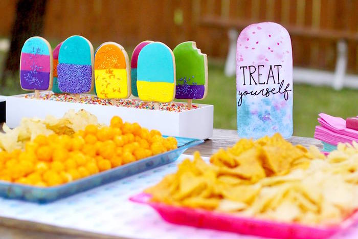 "Popsicle cookies & snacks from a ""Two Cool"" Popsicle Themed Birthday Party on Kara's Party Ideas 