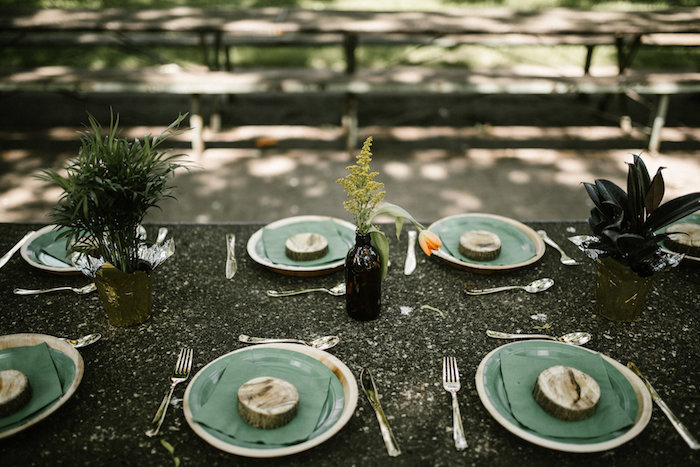 "Guest table from a ""Wild ONE"" Jungle Birthday Party on Kara's Party Ideas 