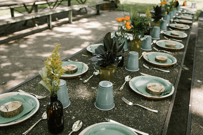 """Guest tablescape from a """"Wild ONE"""" Jungle Birthday Party on Kara's Party Ideas 