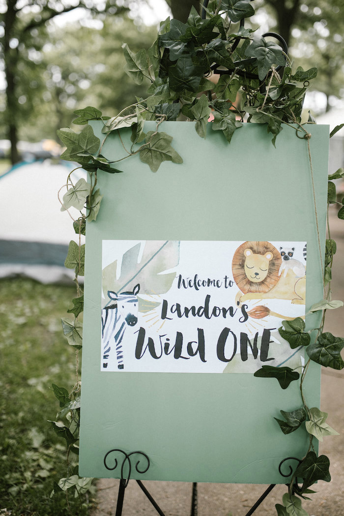 "Wild One Welcome Sign from a ""Wild ONE"" Jungle Birthday Party on Kara's Party Ideas 