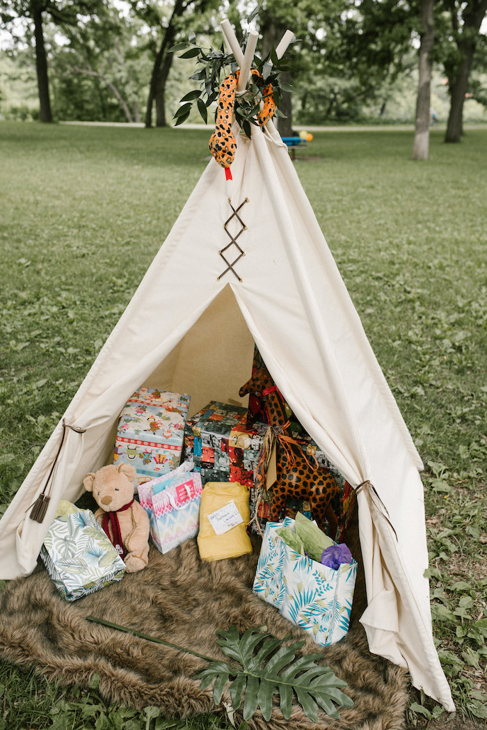 "Teepee gift lounge from a ""Wild ONE"" Jungle Birthday Party on Kara's Party Ideas 