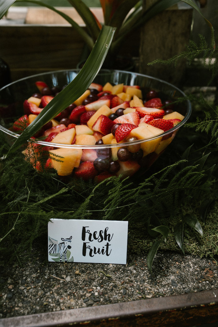 "Fresh fruit from a ""Wild ONE"" Jungle Birthday Party on Kara's Party Ideas 