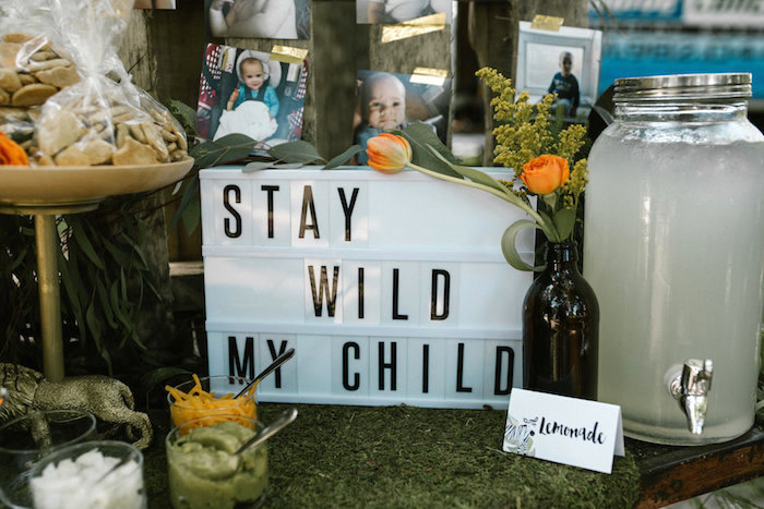 "Stay Wild My Child Light Box Sign from a ""Wild ONE"" Jungle Birthday Party on Kara's Party Ideas 