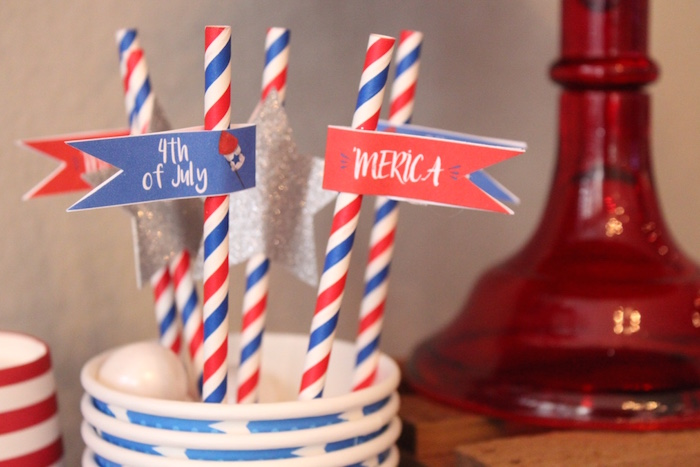 4th of July straw flags from a 4th of July Party on Kara's Party Ideas | KarasPartyIdeas.com (9)