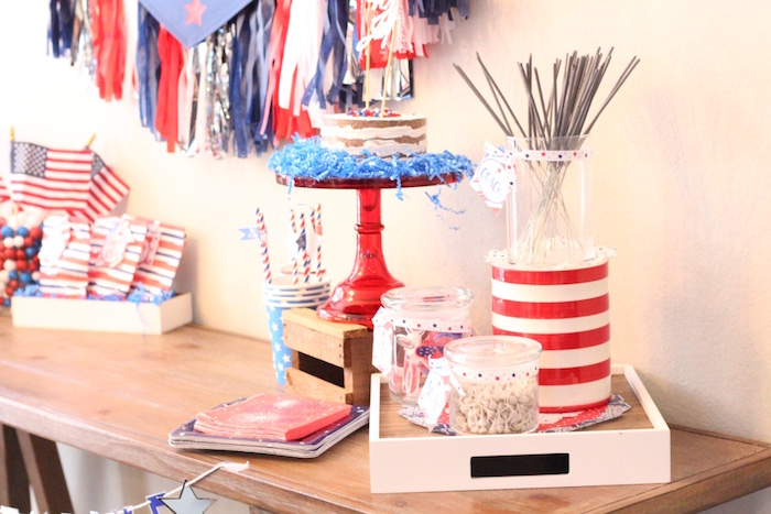 Cake and sparklers from a 4th of July Party on Kara's Party Ideas | KarasPartyIdeas.com (25)