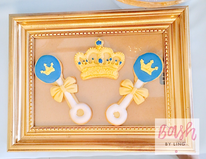 Crown and rattle cookies from A Royal Baby Shower on Kara's Party Ideas | KarasPartyIdeas.com (10)