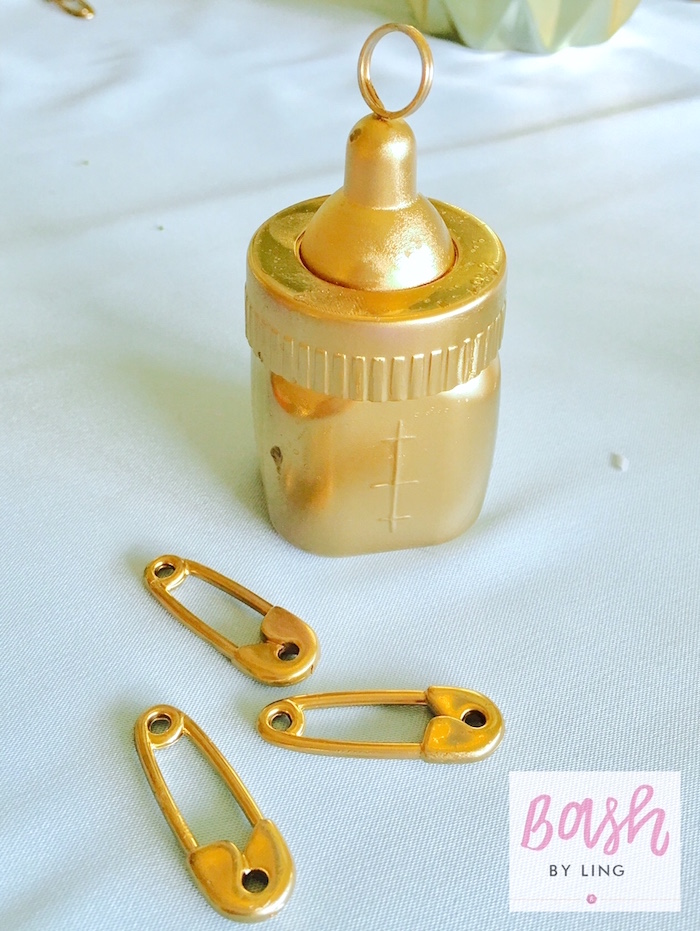 Gold bottle + safety pin centerpieces from A Royal Baby Shower on Kara's Party Ideas | KarasPartyIdeas.com (7)