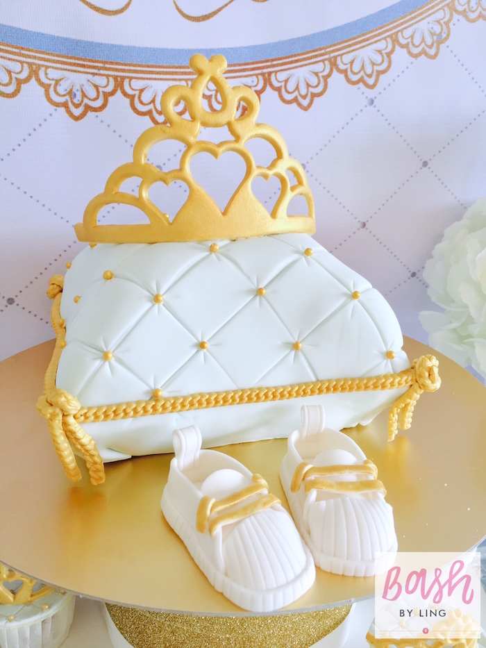 Royal crown pillow cake from A Royal Baby Shower on Kara's Party Ideas | KarasPartyIdeas.com (5)