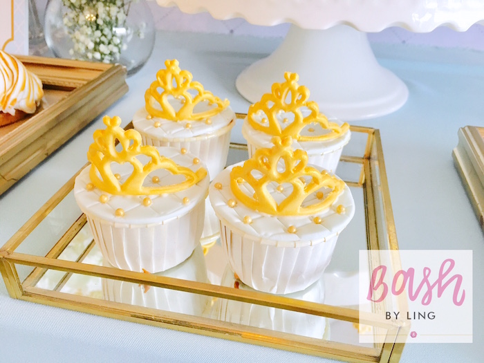 Crown cupcakes from A Royal Baby Shower on Kara's Party Ideas | KarasPartyIdeas.com (20)