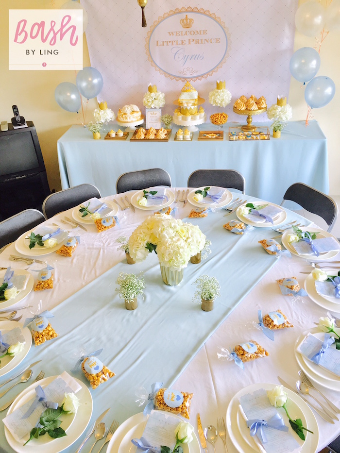 Party tables from A Royal Baby Shower on Kara's Party Ideas | KarasPartyIdeas.com (14)
