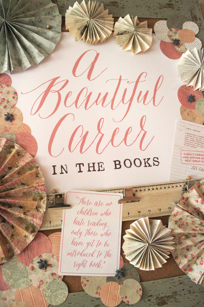Backdrop from a Librarian Book Themed Retirement Party via Kara's Party Ideas | KarasPartyIdeas.com