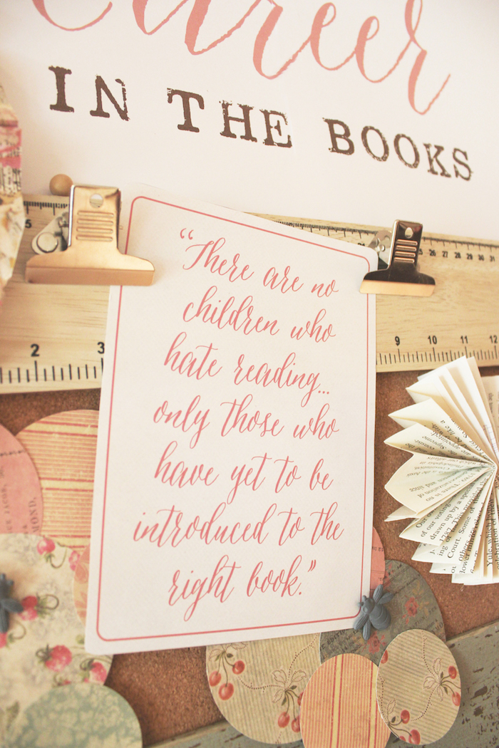 Backdrop signage from a Librarian Book Themed Retirement Party via Kara's Party Ideas | KarasPartyIdeas.com