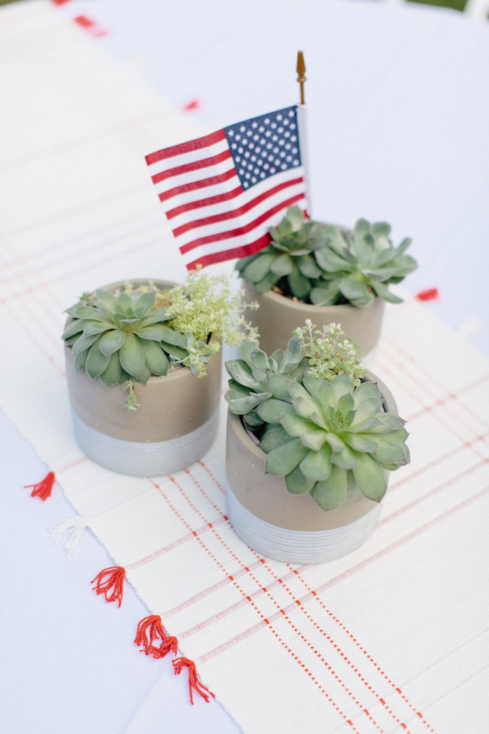 Succulent centerpieces from an All American Labor Day Barbecue on Kara's Party Ideas | KarasPartyIdeas.com (27)