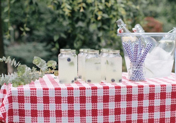 Beverage table from an All American Labor Day Barbecue on Kara's Party Ideas | KarasPartyIdeas.com (7)