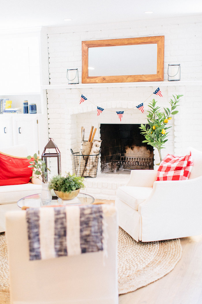 White-brick fireplace from an All American Labor Day Barbecue on Kara's Party Ideas | KarasPartyIdeas.com (30)