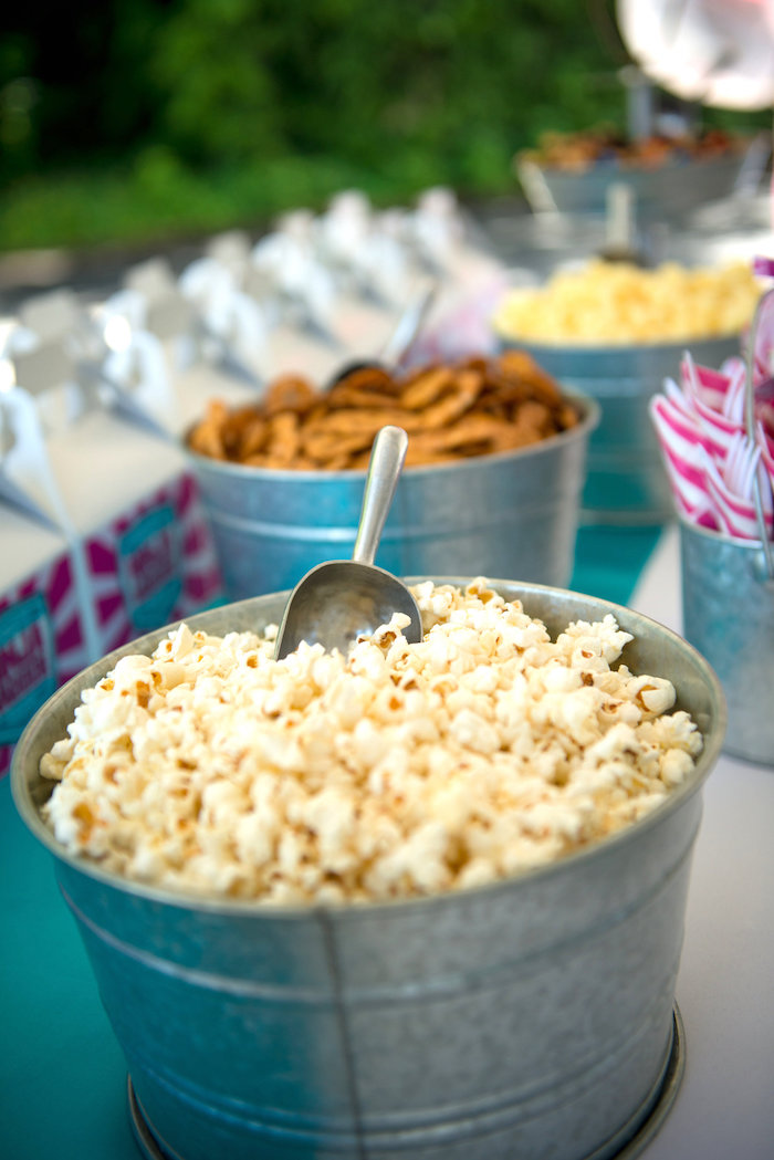 Popcorn placed in a galvanized tub from an American Ninja Warrior Themed Birthday Party on Kara's Party Ideas | KarasPartyIdeas.com (50)