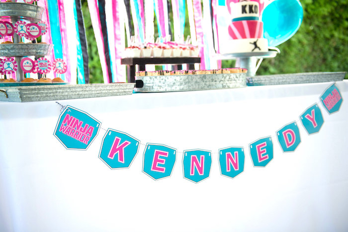 Name banner from an American Ninja Warrior Themed Birthday Party on Kara's Party Ideas | KarasPartyIdeas.com (49)