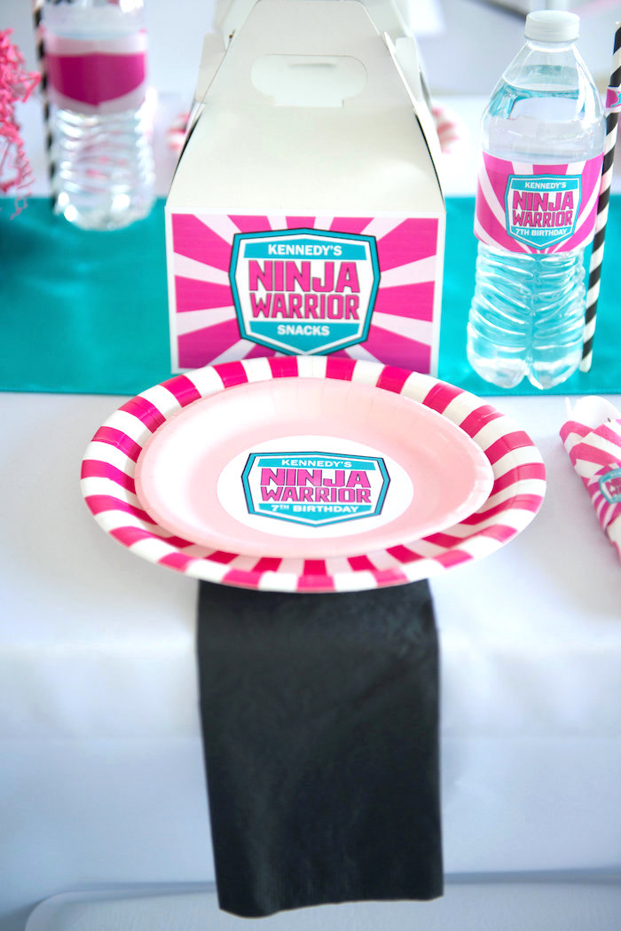 Place setting from an American Ninja Warrior Themed Birthday Party on Kara's Party Ideas | KarasPartyIdeas.com (44)