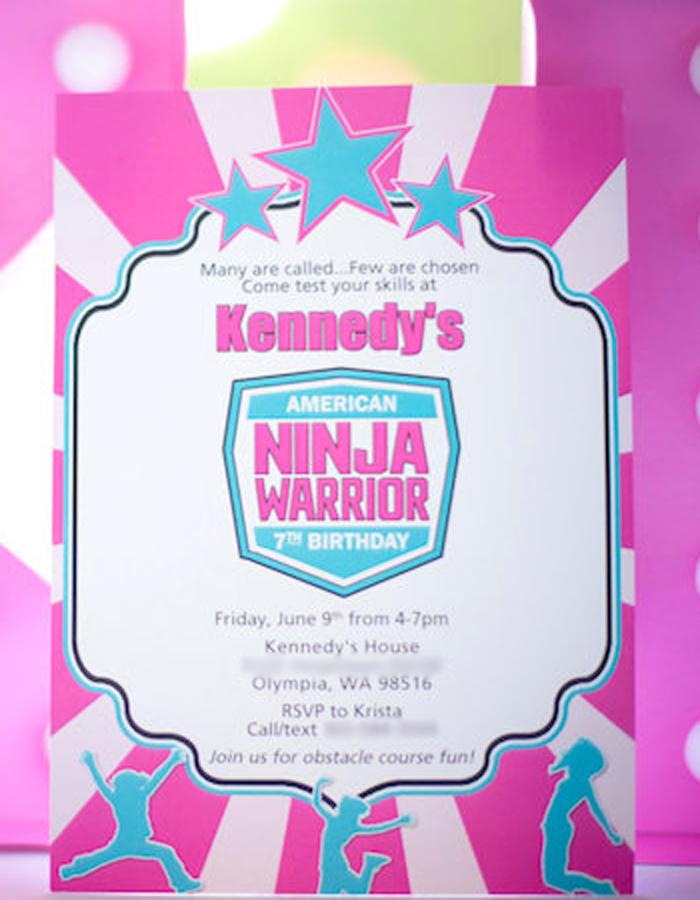 Ninja Warrior Party Invite from an American Ninja Warrior Themed Birthday Party on Kara's Party Ideas | KarasPartyIdeas.com (35)