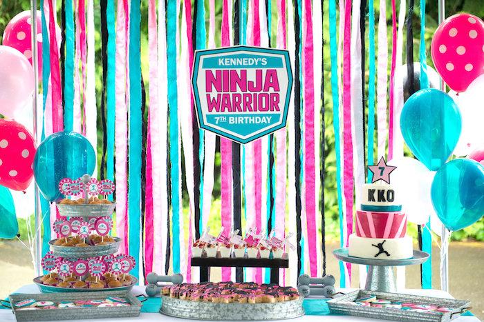 Dessert table from an American Ninja Warrior Themed Birthday Party on Kara's Party Ideas | KarasPartyIdeas.com (32)