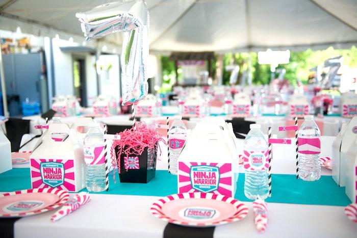 Guest table from an American Ninja Warrior Themed Birthday Party on Kara's Party Ideas   KarasPartyIdeas.com (23)