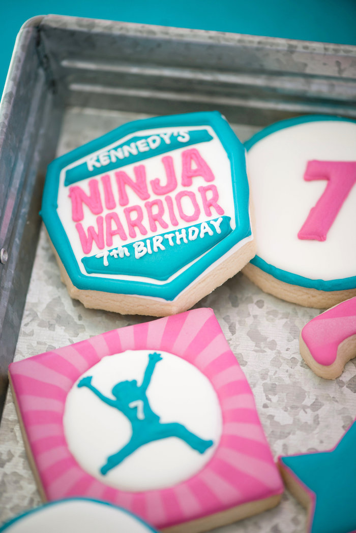 Ninja Warrior Cookies from an American Ninja Warrior Themed Birthday Party on Kara's Party Ideas   KarasPartyIdeas.com (54)