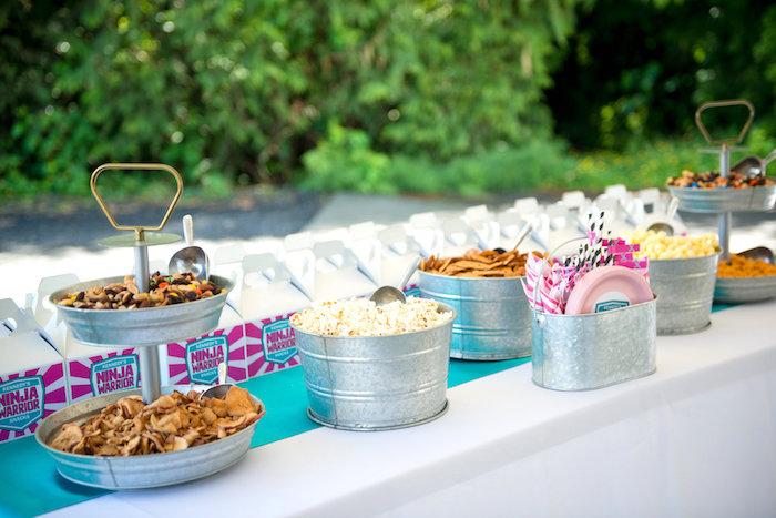 Power snack table from an American Ninja Warrior Themed Birthday Party on Kara's Party Ideas | KarasPartyIdeas.com (52)