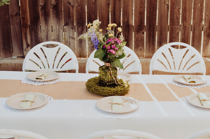 Guest tablescape from a Backyard Garden Baptism on Kara's Party Ideas | KarasPartyIdeas.com (21)
