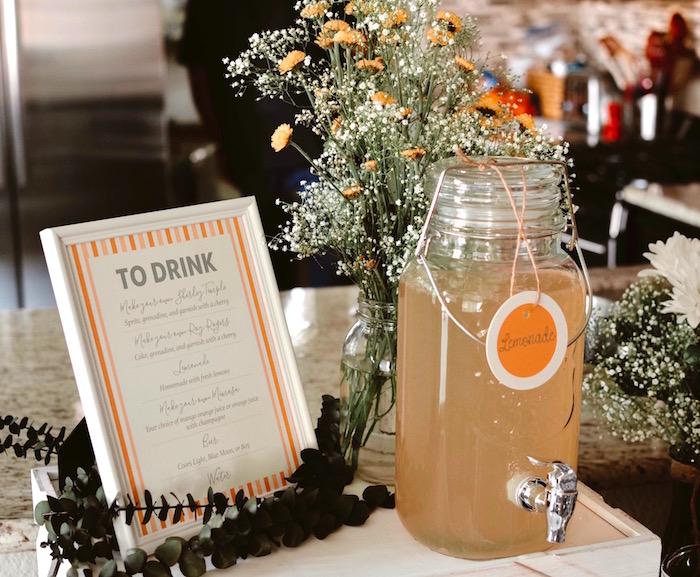 Beverage dispenser & blooms from a Backyard Garden Baptism on Kara's Party Ideas   KarasPartyIdeas.com (12)