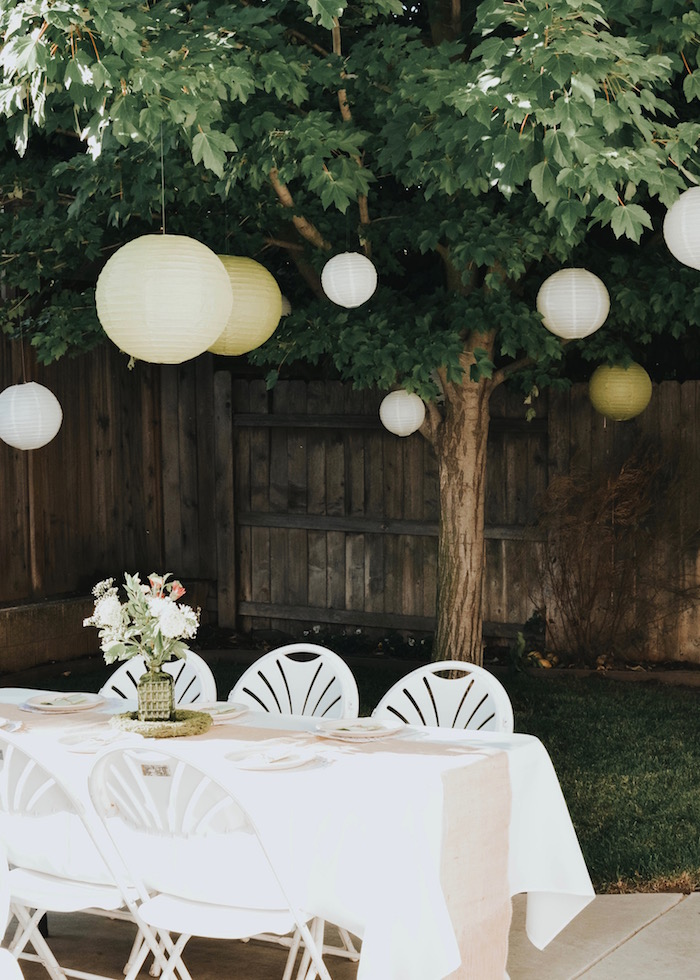 Garden guest table from a Backyard Garden Baptism on Kara's Party Ideas | KarasPartyIdeas.com (30)