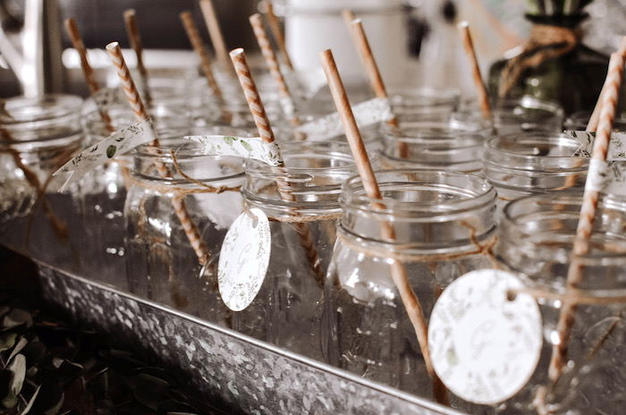 Mason jar drink cups from a Backyard Garden Baptism on Kara's Party Ideas | KarasPartyIdeas.com (10)