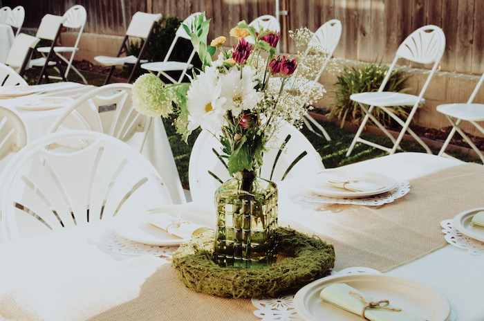 Flower and moss centerpiece from a Backyard Garden Baptism on Kara's Party Ideas | KarasPartyIdeas.com (29)