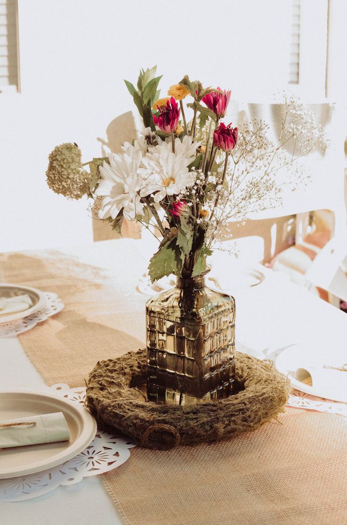 Floral centerpiece from a Backyard Garden Baptism on Kara's Party Ideas | KarasPartyIdeas.com (28)