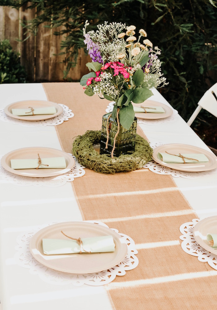 Guest tablescape from a Backyard Garden Baptism on Kara's Party Ideas | KarasPartyIdeas.com (26)