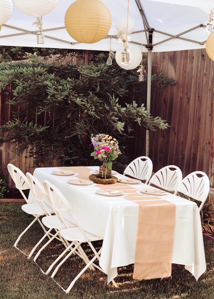 Guest table from a Backyard Garden Baptism on Kara's Party Ideas | KarasPartyIdeas.com (25)
