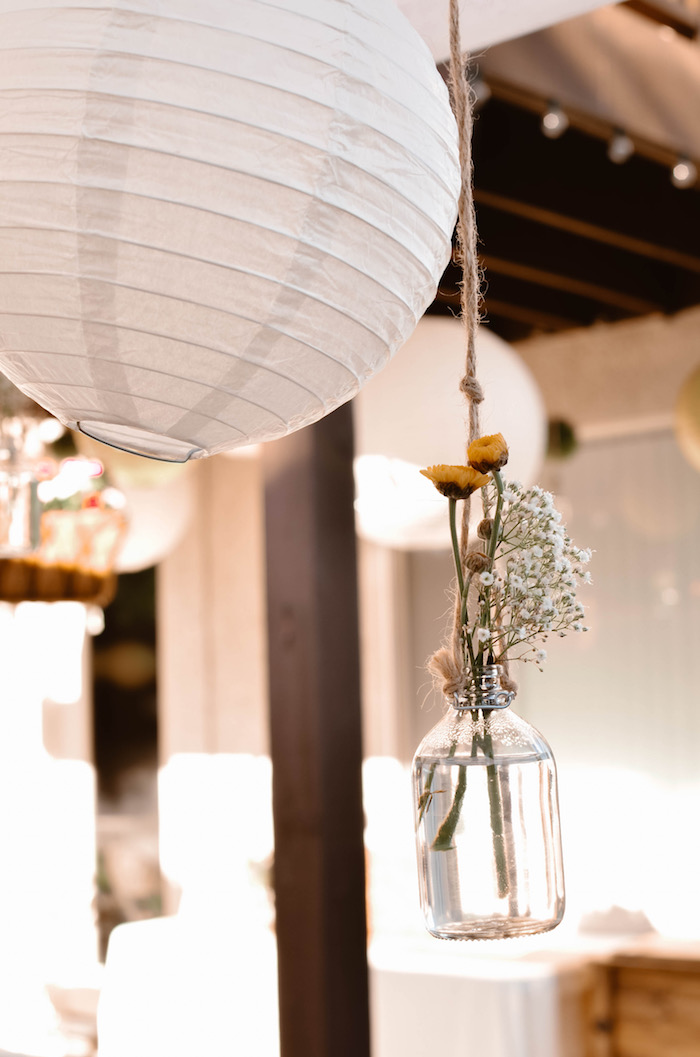 Blooms and paper lanterns from a Backyard Garden Baptism on Kara's Party Ideas | KarasPartyIdeas.com (24)