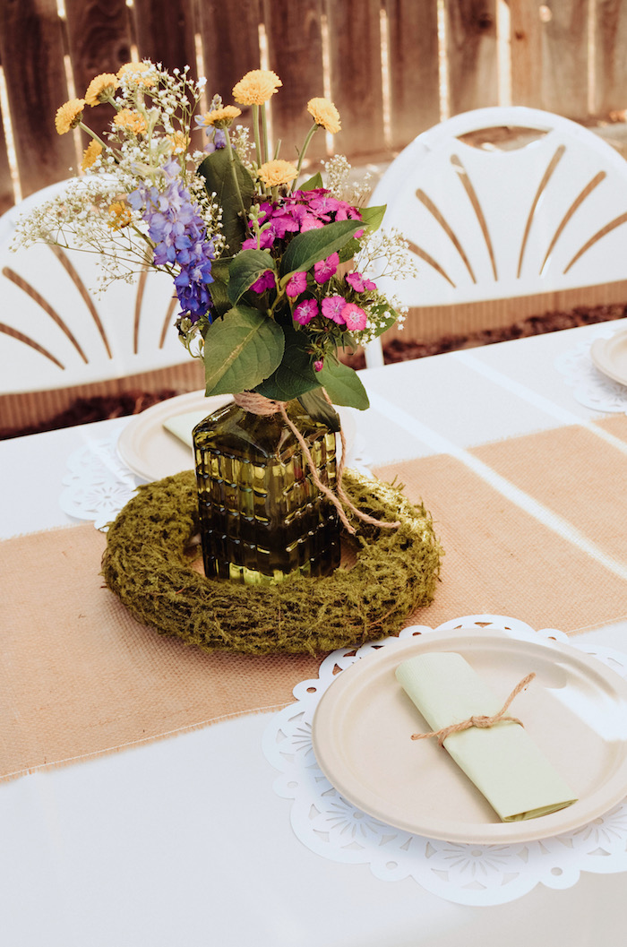 Garden centerpiece from a Backyard Garden Baptism on Kara's Party Ideas | KarasPartyIdeas.com (22)