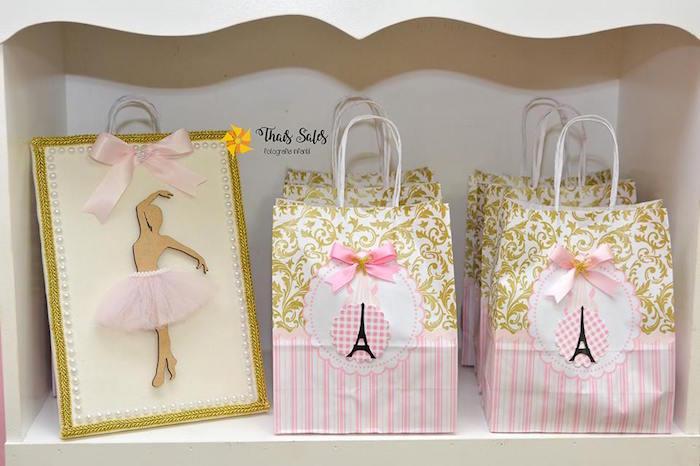 Parisian Gift Bags From A Ballerina In Paris Birthday Party On Kara S Ideas Karaspartyideas