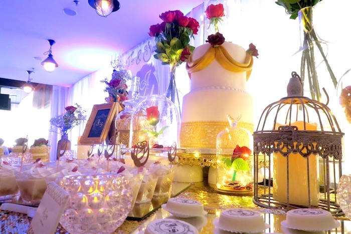Beauty and the Beast Inspired Wedding Dessert Table on Kara's Party Ideas | KarasPartyIdeas.com (10)