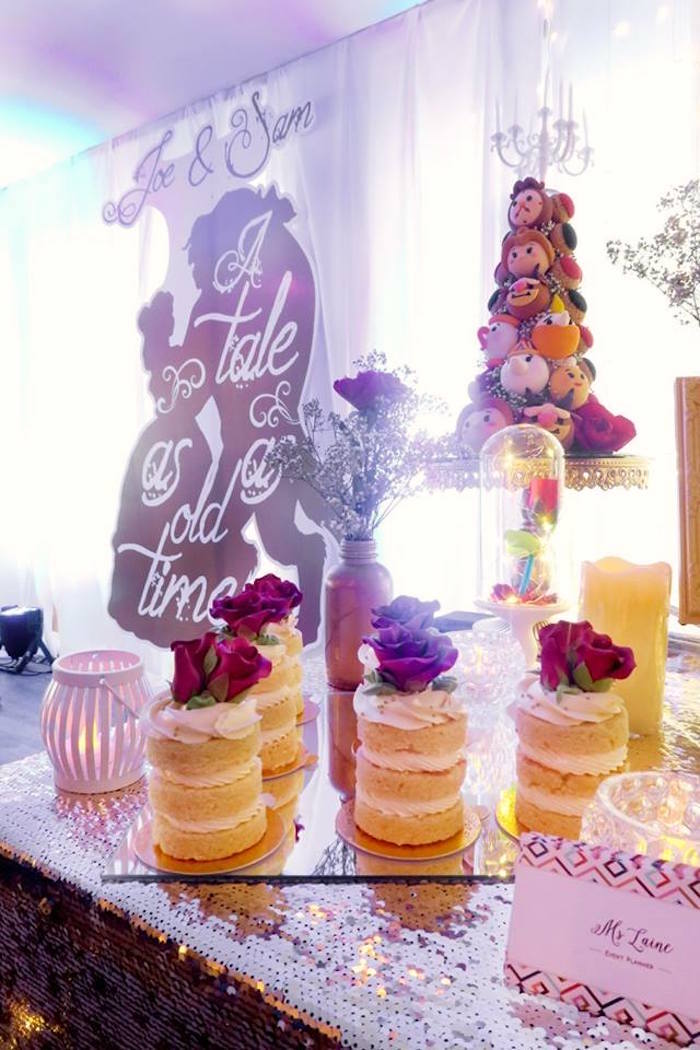 Enchanted Rose mini cakes from a Beauty and the Beast Inspired Wedding Dessert Table on Kara's Party Ideas   KarasPartyIdeas.com (9)