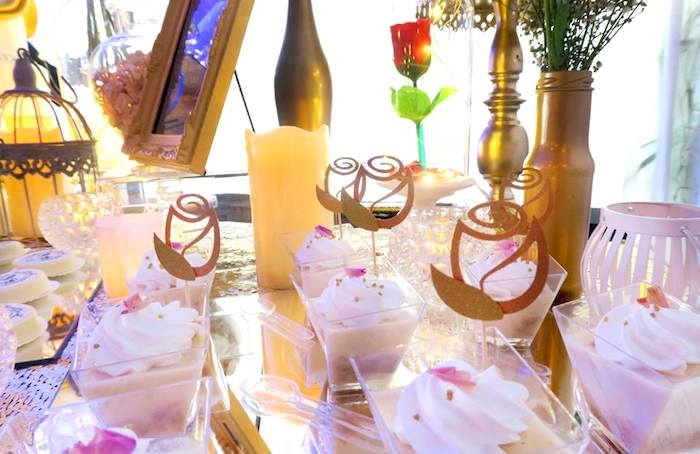 Rose-topped dessert cups from a Beauty and the Beast Inspired Wedding Dessert Table on Kara's Party Ideas | KarasPartyIdeas.com (8)
