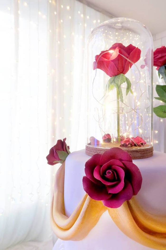 Enchanted rose cake topper from a Beauty and the Beast Inspired Wedding Dessert Table on Kara's Party Ideas | KarasPartyIdeas.com (5)