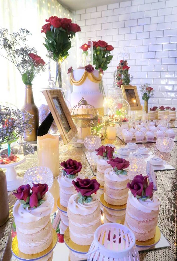 Kara 39 s party ideas beauty and the beast inspired wedding for Beauty on table