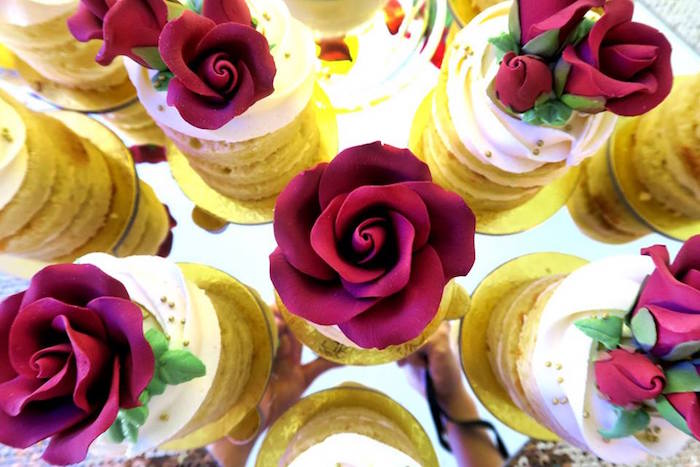 Enchanted Rose sugar toppers from a Beauty and the Beast Inspired Wedding Dessert Table on Kara's Party Ideas | KarasPartyIdeas.com (16)