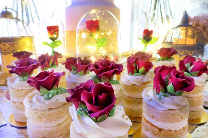 Enchanted Rose mini cakes from a Beauty and the Beast Inspired Wedding Dessert Table on Kara's Party Ideas | KarasPartyIdeas.com (13)