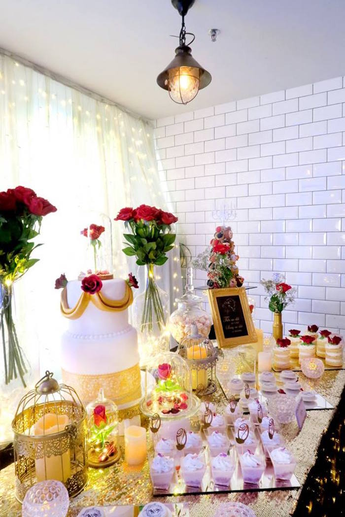 Kara's Party Ideas Beauty and the Beast Inspired Wedding Dessert ...