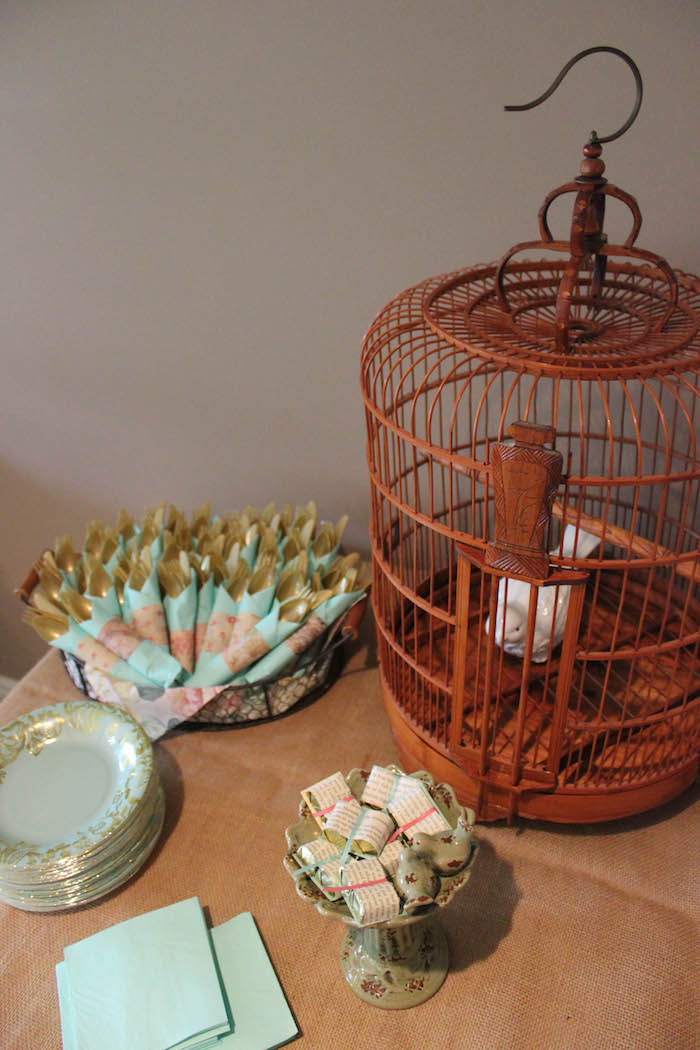 Birdcage & Favors from a Librarian Book Themed Retirement Party via Kara's Party Ideas | KarasPartyIdeas.com