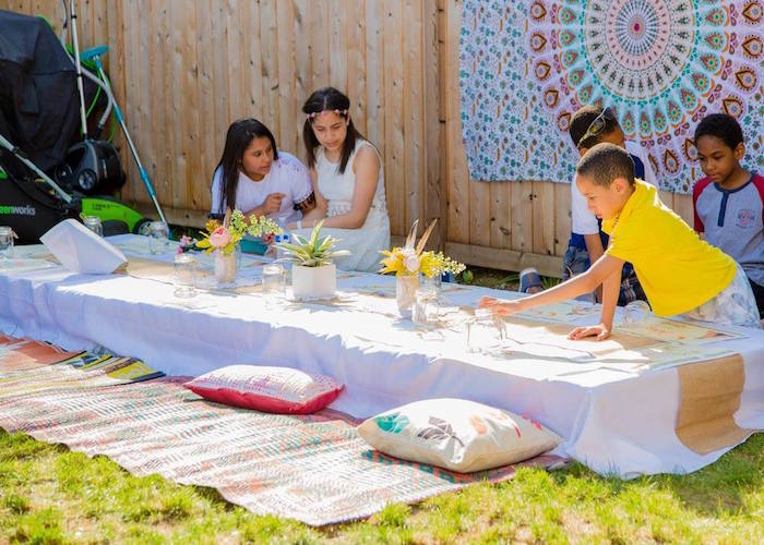 Ground guest table from a Bohemian Circus Birthday Party on Kara's Party Ideas | KarasPartyIdeas.com (11)